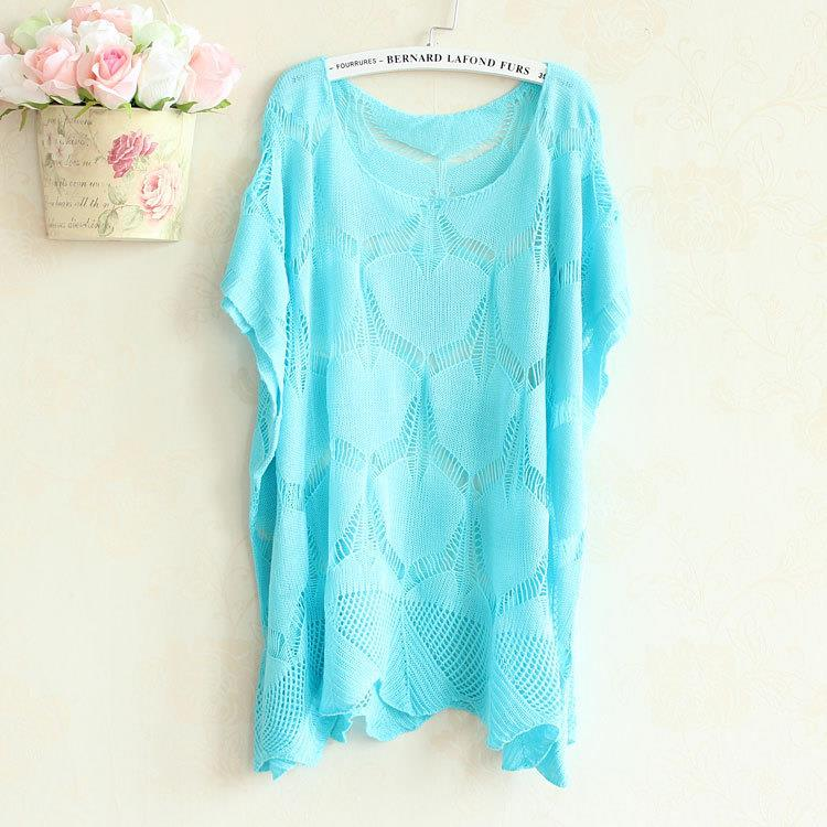 00439  Plus Size Leaf Crochet Fashion Bat Sleeve Knit Blouse