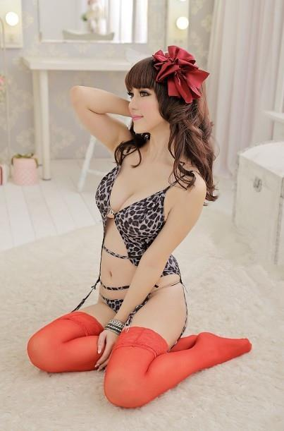 01267 Leopard Ice Silk Hollow Vest Lingerie Sleepwear Nightwear +Thong
