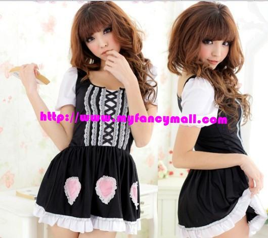 01761 Korea Japan Sexy Roll Play Maid Maidservant Lingerie Set