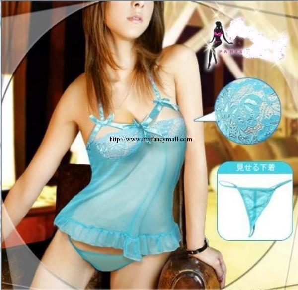 01802 Sexy Lace Lingerie Sleep Night Wear Underwear Pyjamas Skirt+ T