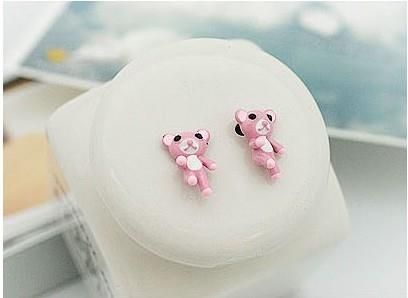 02102KoreanNaughty Bear diamond earrings (pink)