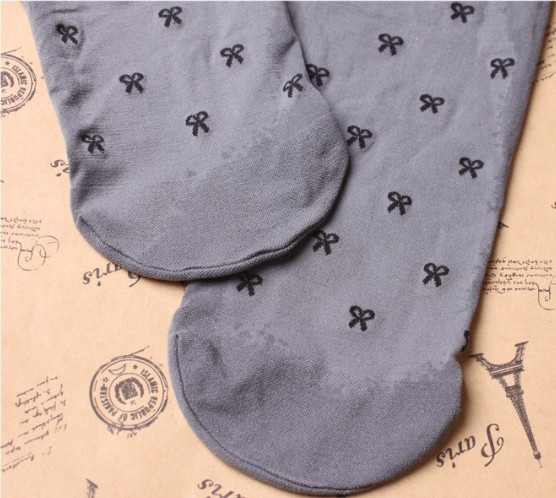 02603 Japan small sweet bow princess children gray kids pantyhose