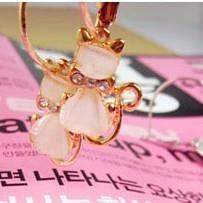 02635Korean golden earrings peach heart diamond kitty