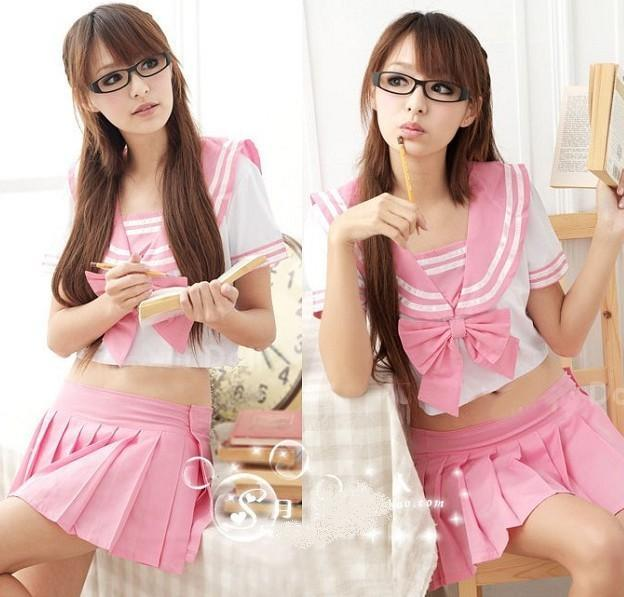03232 Cute Japanese Cosplay students wear two piece suit
