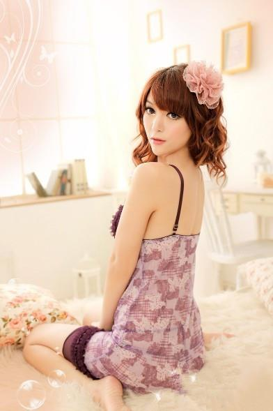 03394 Sexy Sleep Lingerie Underwear Pyjamas Nightwear Skirt+T