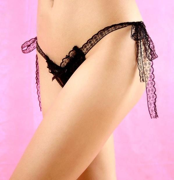 03646 Delicate Floral Lace Tying Style G String