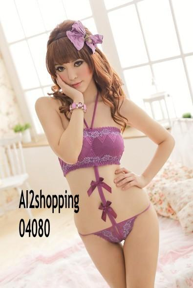 04080Embroidery lace bow purple stunner sexy sexy pajamas onesies