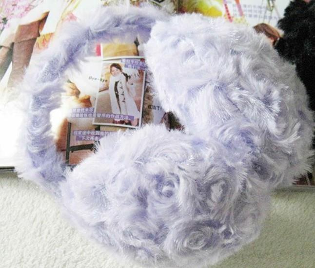 04247 Korean-Worn Rose Pattern Plush Earmuffs