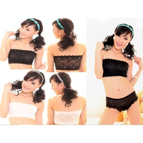 04285 Strapless Elastic Embroidered Lace Tube Top