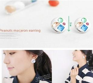 04575 Korean Version Of Sweet Round Diamond Earrings