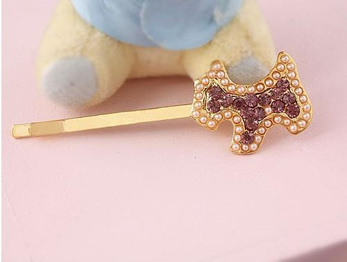 04631 Korean Exquisite Lovely Pearl Dog Full Diamond Hairpin