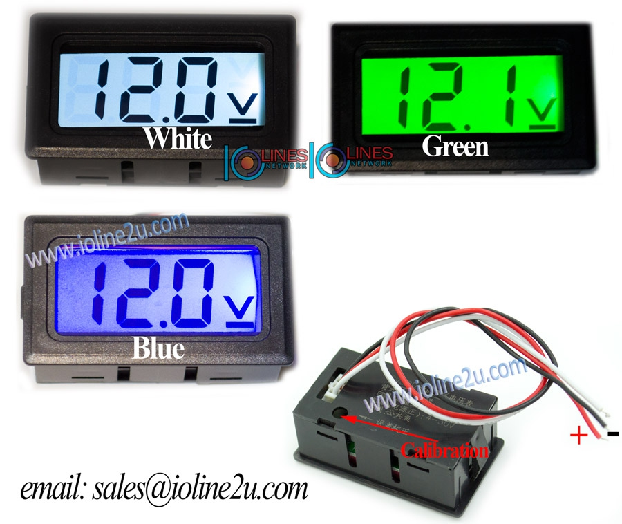 0V~100V DC Digital LCD voltmeter panel mount White Backlight 48V 60V 80V Calib