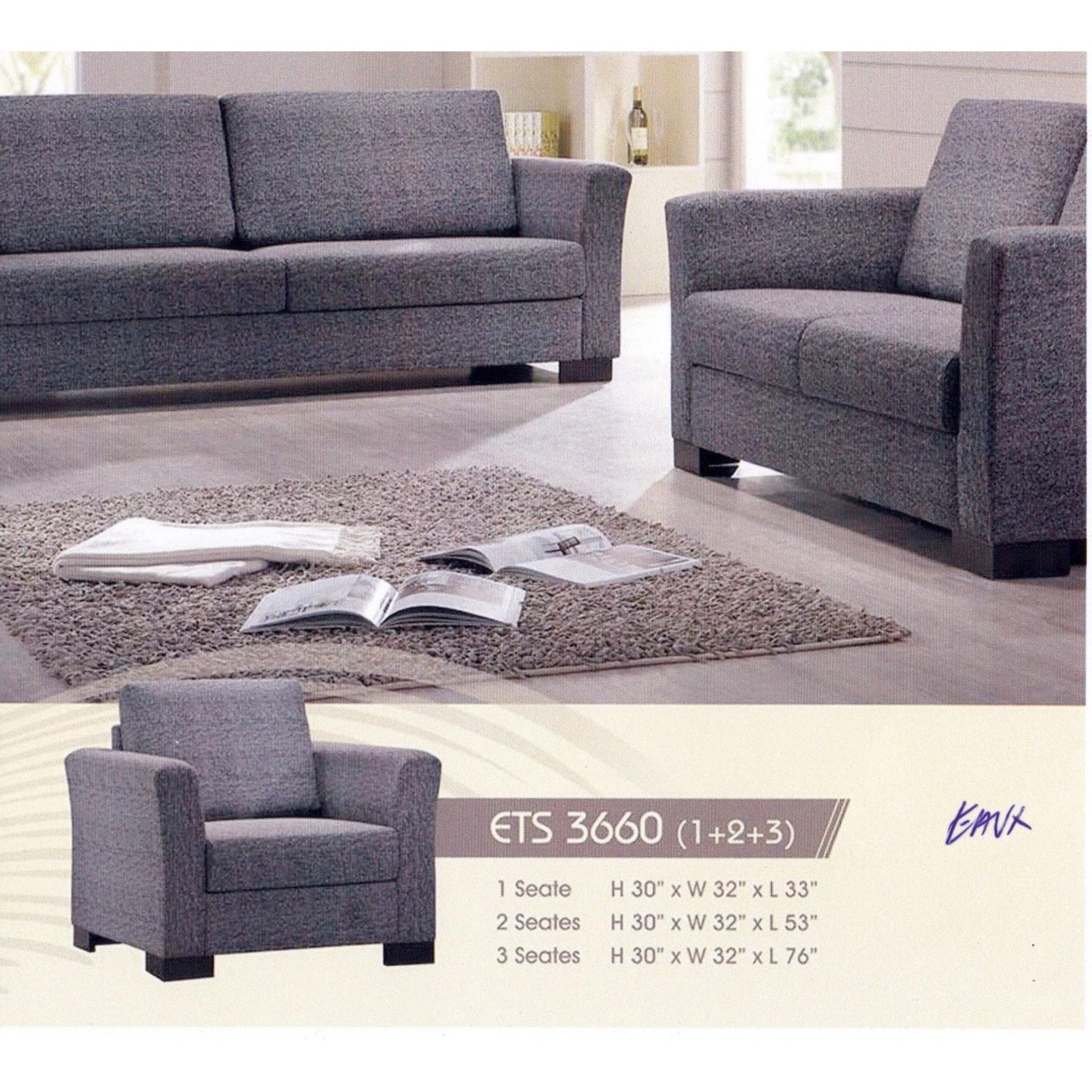 1+2+3 Leather Cushion Sofa Lounge Chair Relax Sofa Set (Grey Color)
