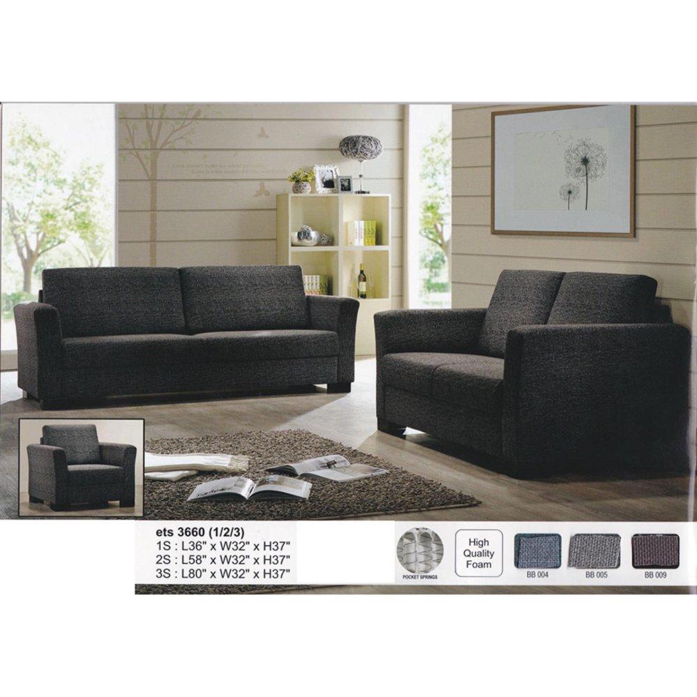 1+2+3 Leather Cushion Sofa Lounge C (end 4/30/2021 12:00 AM)