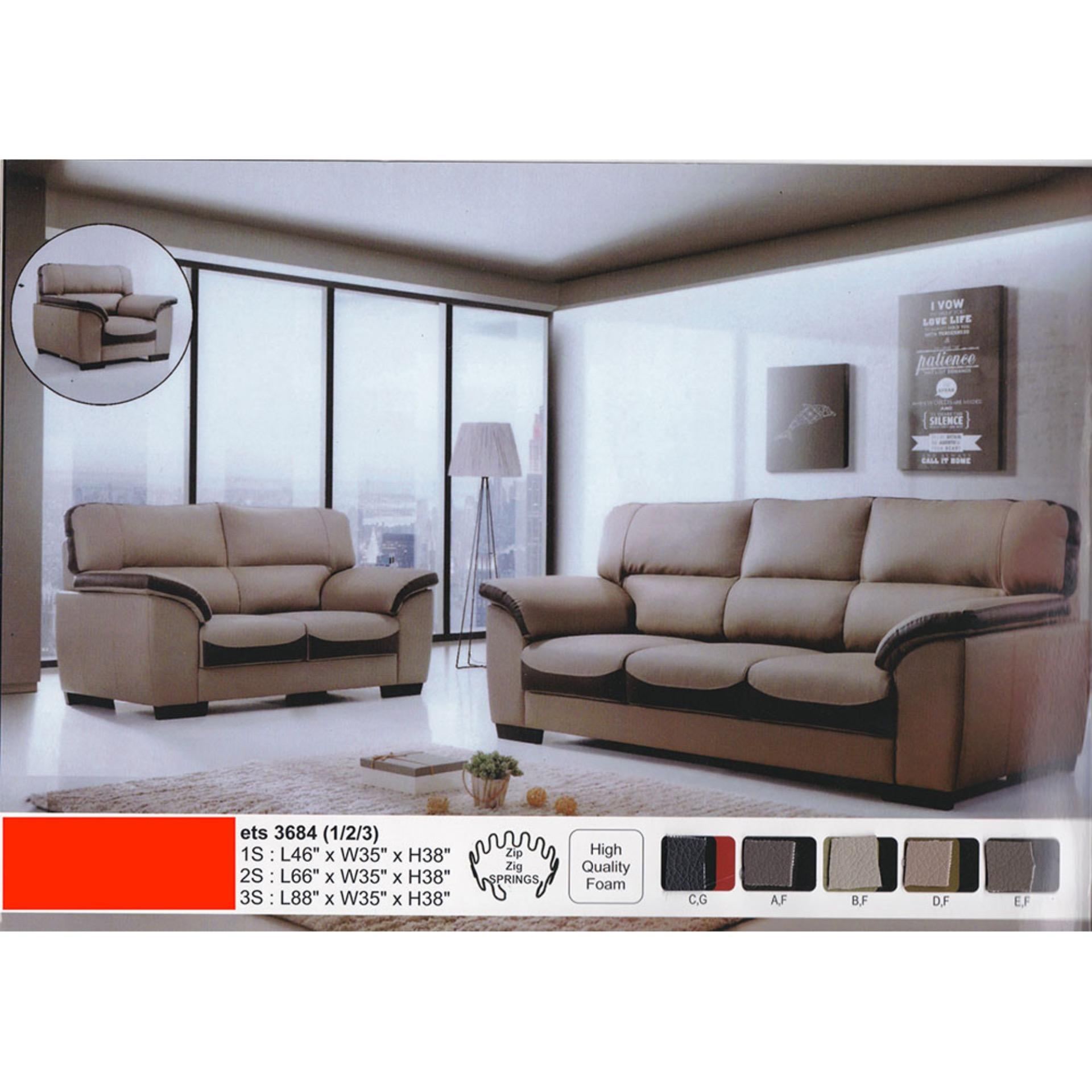 1+2+3 Seater Leather Sofa Lounge Chair Relax Sofa Set Grey + Dark Brow