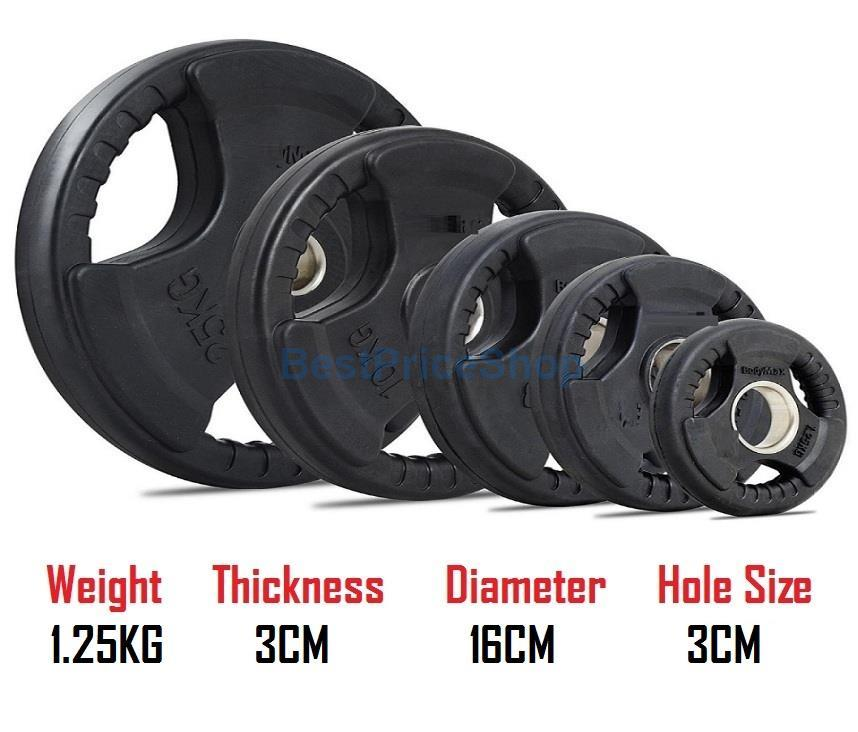1.25KG 3CM Hole Tri Grip Rubber Coated Iron Weight Plate Handhold Gym