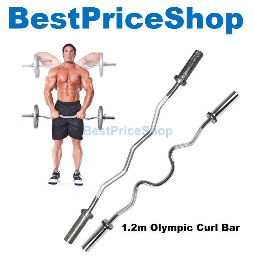 1 2m Olympic Barbell Extra Curl Gym Ez Curve Bar Weightlifting
