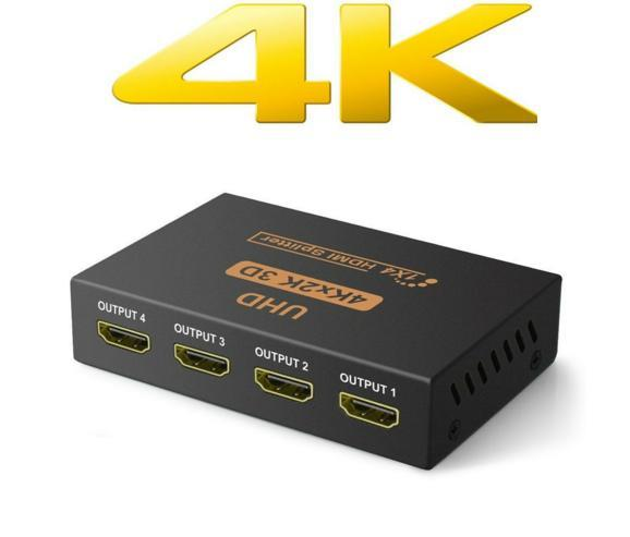 1-In 4-Out HDMI Splitter UHD 4Kx2K 3D cw 3pin Power Supply