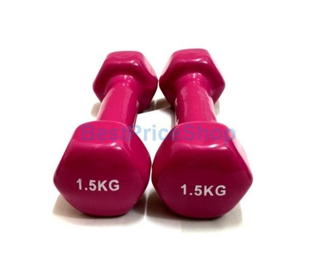1.5kg 2kg Vinyl Color Rubber Dumbbells Hexagon Weight Lifting Aerobic