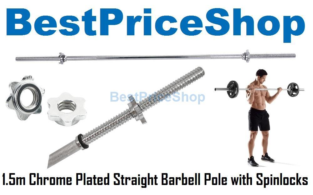 1.5m Chrome Plated Solid Straight Barbell Pole Spinlocks Standard Bar