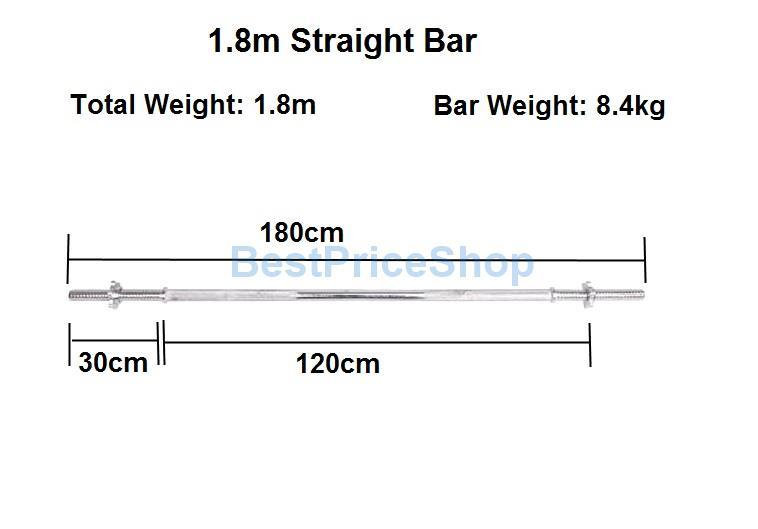 1.8m Chrome Plated Solid Straight Barbell Pole Spinlocks Standard Bar
