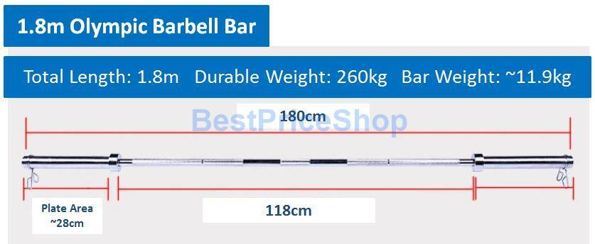 1 8m Olympic Barbell Straight Bar Handhold Per Plate Weight Lifting