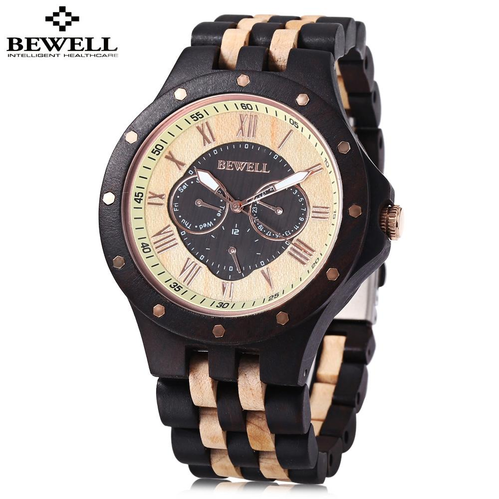 #1 BEWELL ZS - W116C Male Wooden Quartz Watch Date Day Display Roman N..