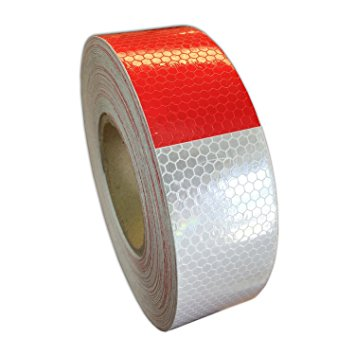 1 Feet Red White Reflective Strip Tape Stickers Hazard 2