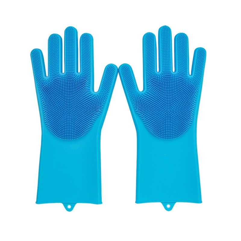 1* Gloves - Magic Saksak Reusable Silicone Gloves Scrubber Cleaning Br..