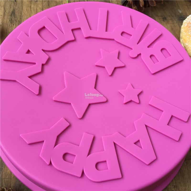 1 Happy Birthday Round Cake Silicone Mould Mold Soap Jelly