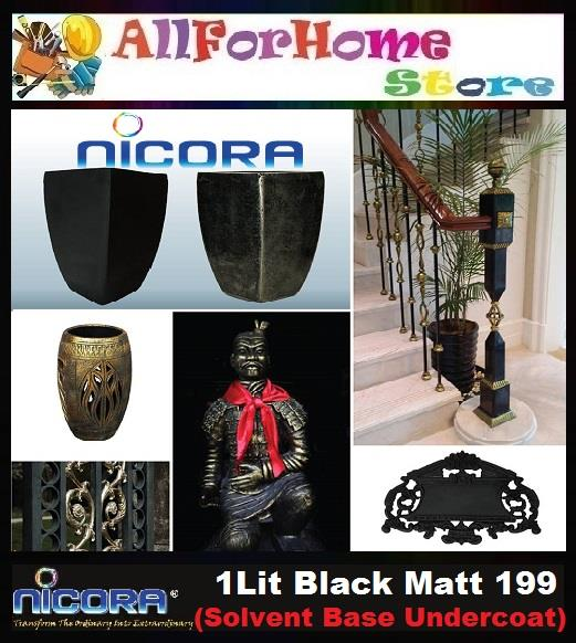 1 Lit NICORA Black Matt 199 (Solvent Base Undercoat)