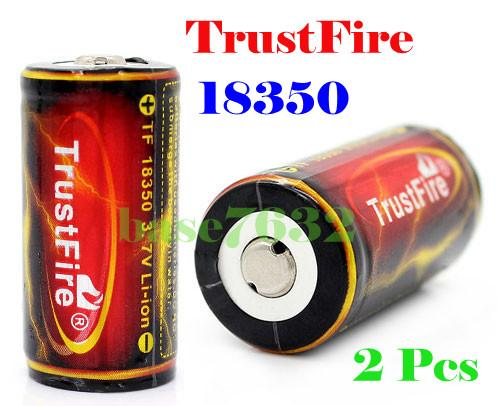 1 Pair= 2 pcs TrustFire Ultrafire 18350 1200mAh Rechargeable Battery