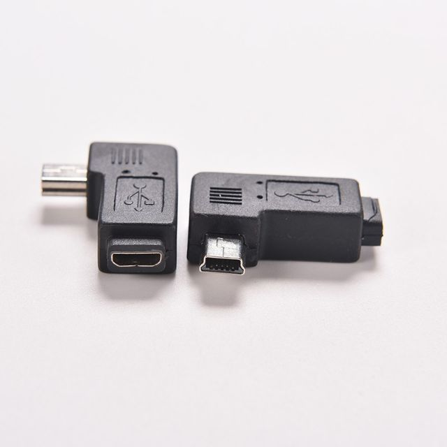 1 PCS USB Micro Female to Mini USB Male [ 5Pin ] 90 Degree Angle Adapter Conve