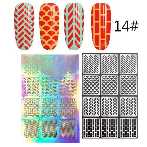 1 sheet (12pcs) N114 Nail Art Vinyl Korea Stencil Stickers Manicure