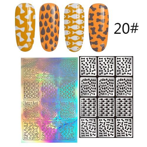 1 sheet (12pcs) N120 Nail Art Vinyl Korea Stencil Stickers Manicure
