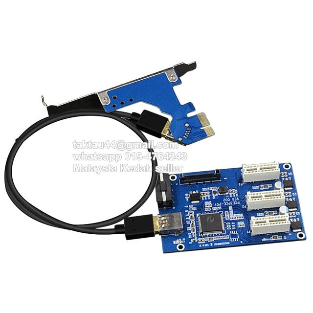 1 to 3 Slot Multiplier PCI-E PCIE 1X Expansion Mining ETH Bitcoin