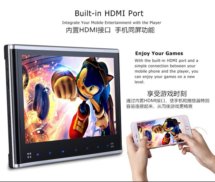 10.1'' Car Headrest DVD Player With HDMI Port
