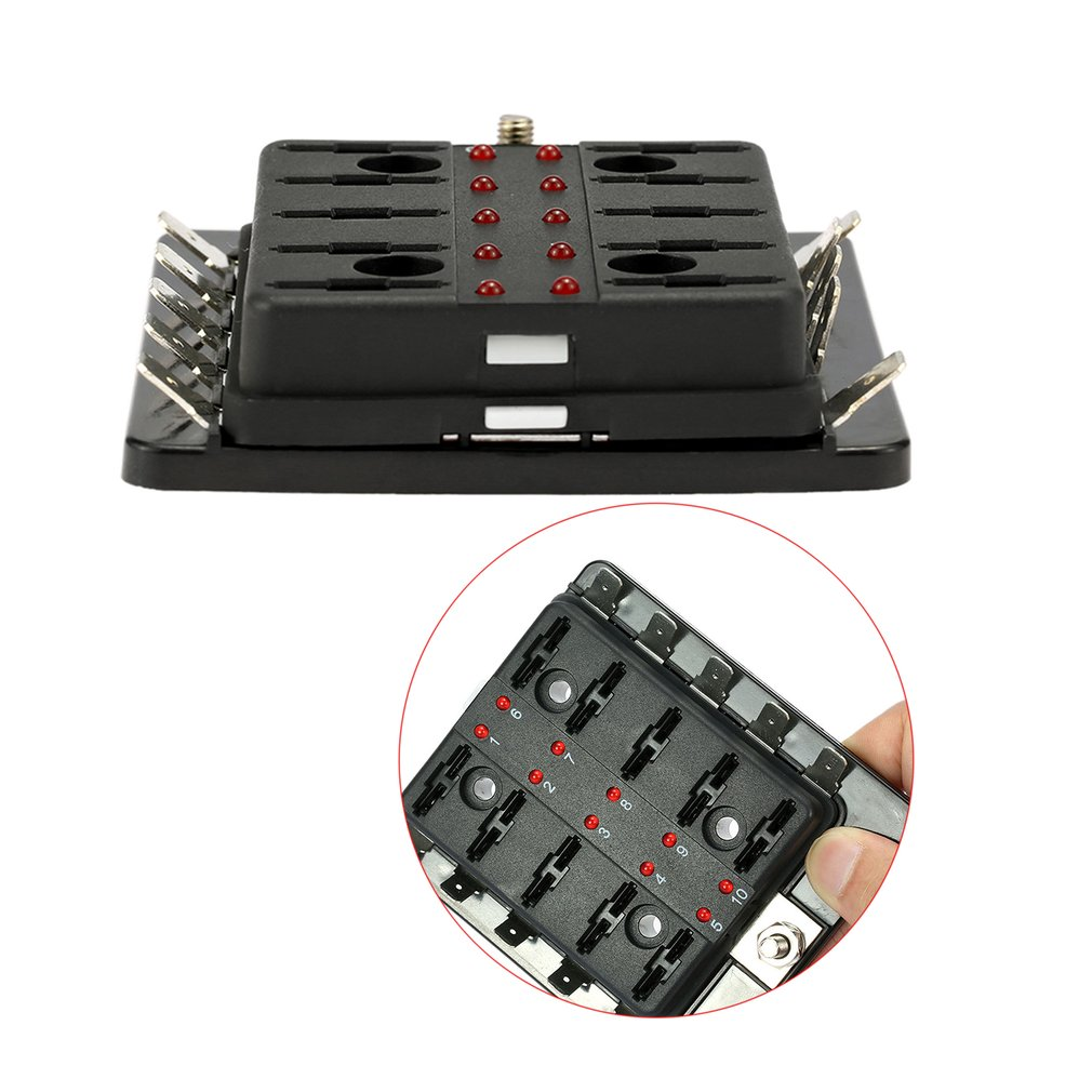 10 Way Car Blade Fuse Box Holder Wi End 12 24 2018 556 Pm With Red Led Warning Light For Bo