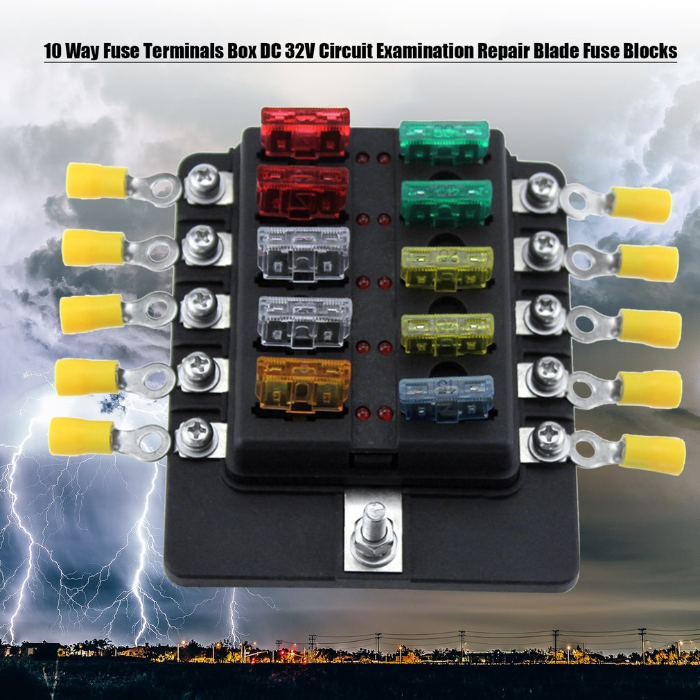 10 Way Fuse Terminals Box DC 32V Circuit Examination Repair Blade Fuse..
