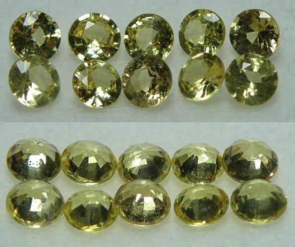 10 pcs excellent clear yellow Sapphire round facet - 2.83CT