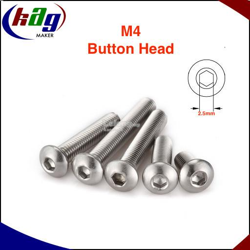 10 pcs M4 Hex Socket Button Head S/Steel Screws