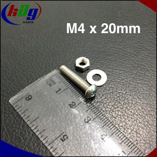 10 pcs M4 x 20mm Hex Socket Button Head(Screw, nut and washer)