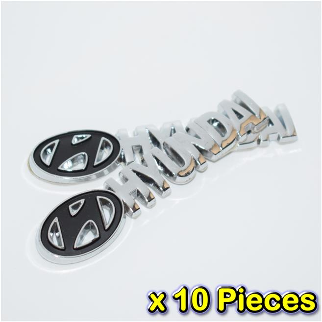 [10 PIECES][1427BK#14] Hyundai BLACK Chrome Badge Emblem Logo Fender C