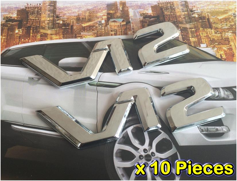 [10 PIECES][7037 #56-479] V12 HQ Chrome 3D Car Trunk Badge Side Auto E