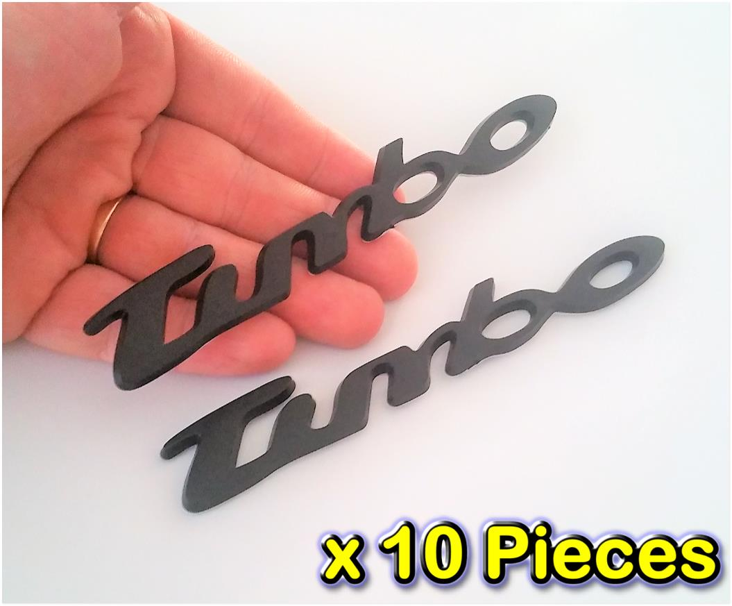 [10 PIECES][7092BKB#13-33] Turbo Black Badge Emblem 3D Car Trunk  Side