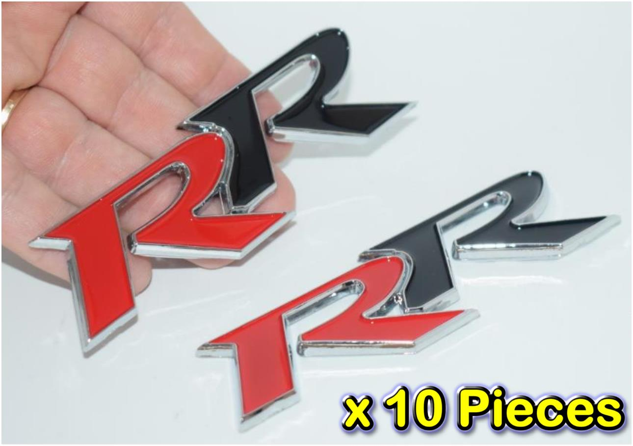 [10 PIECES]RR RED BLACK Metal HQ 3D Badge Car Trunk Side Door Fender A