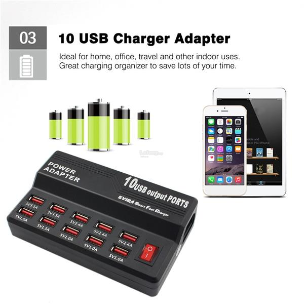 10 Ports AC To DC USB Charger 5V 12A Home Travel Fast Charger For Phon