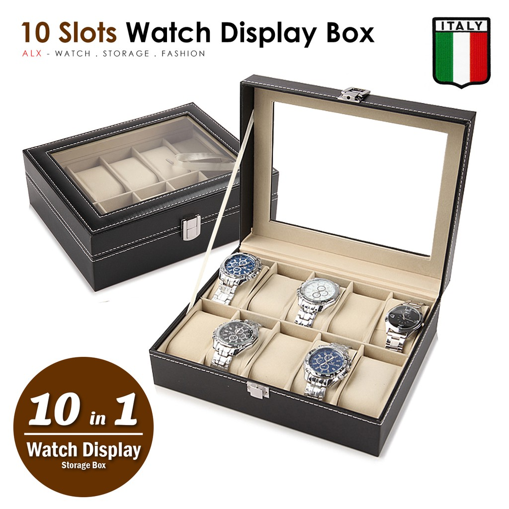 10 Slots Premium Italy Leather Watch Display Pillow Holder Case Storag