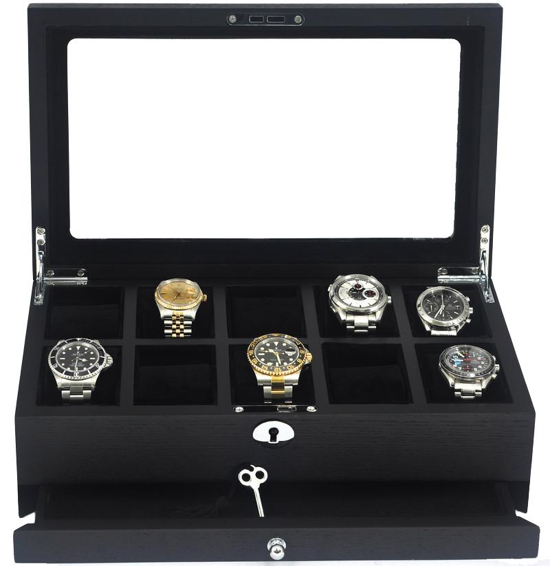 10 watch box glass display lockable storage case solid wooden