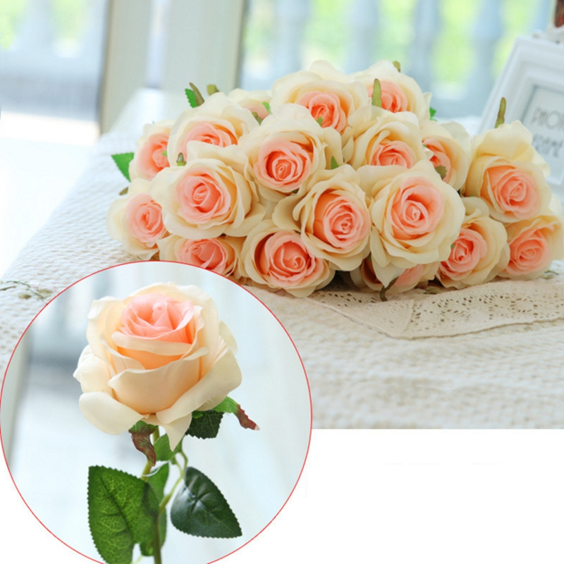 10 X Branch Of Artificial Flower - 10 Branch Silk Champagne Roses Wedd..